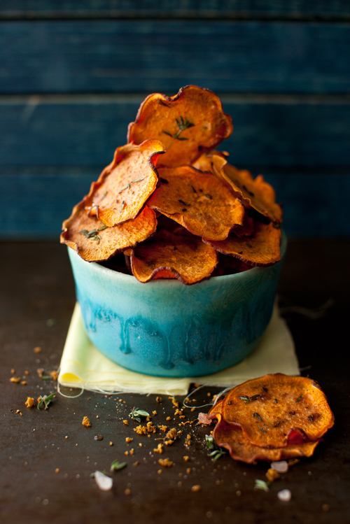 Recipe: Orange Sweet Potato Baked Chips with Thyme